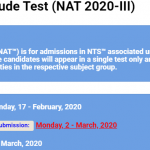 National Aptitude Test NAT 2020 III NTS Test Result