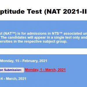 NAT 2021-III NTS Apply Online Roll No Slip