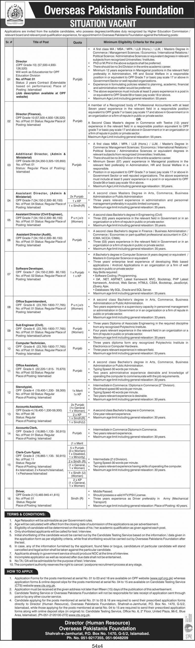 Overseas Pakistanis Foundation OPF Jobs 2020 CTS Application Form Roll No Slip