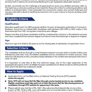 The Bank of Khyber NTS Roll No Slip Download Online
