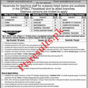Divisional Public School & College Faisalabad PTS Jobs 2020 Apply Online