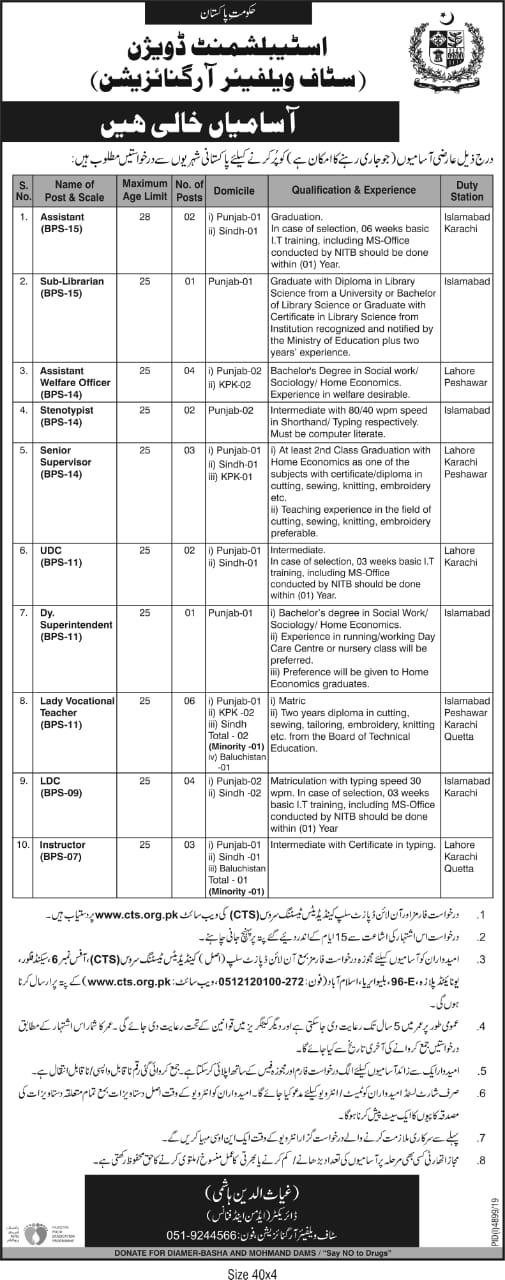 Establishment Division CTS Jobs 2020 Application Form Roll No Slip