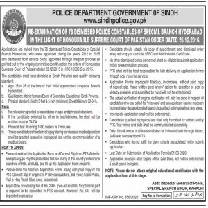 Sindh Police Special Branch Hyderabad PTS Jobs 2020