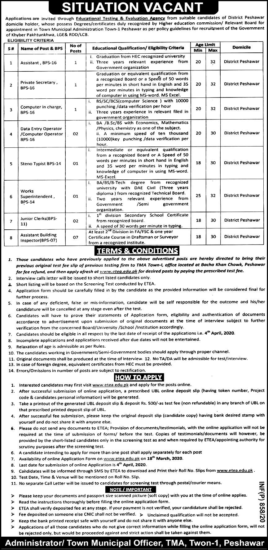 Town Municipal Administration TMA ETEA Jobs 2020 Application Form Roll No Slip