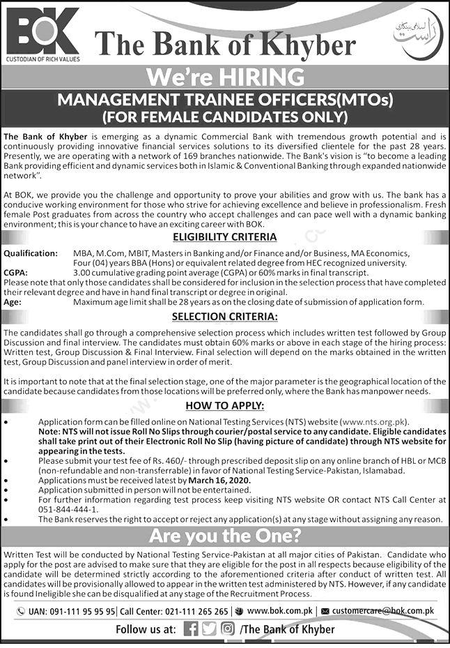 Bank of Khyber NTS Jobs 2020 Application Form Roll No Slip