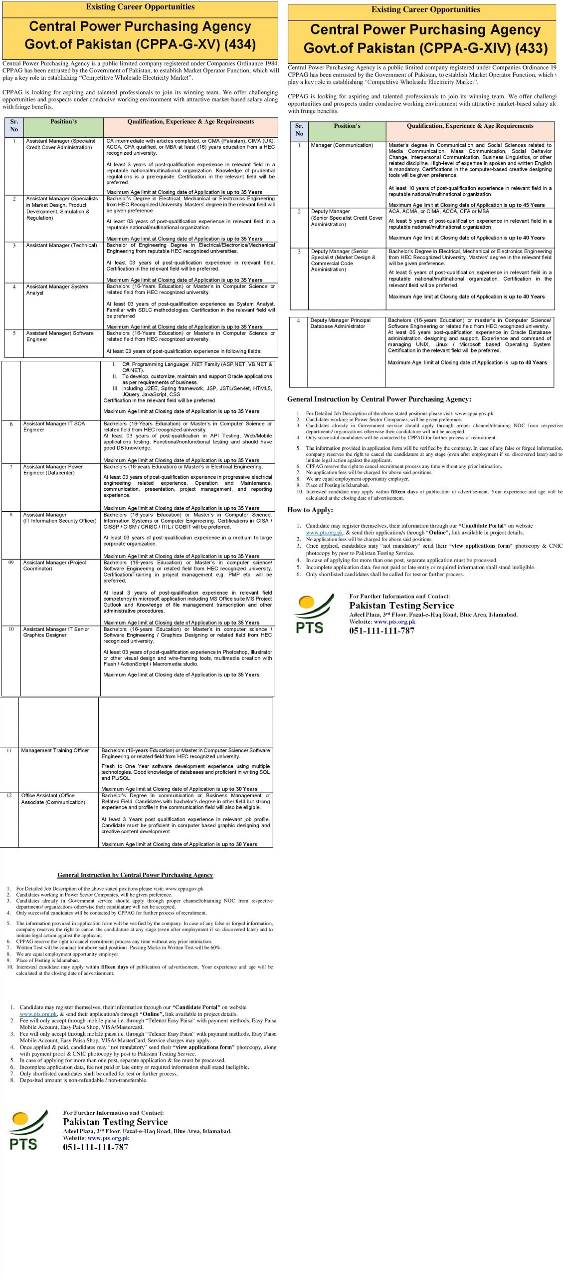 Central Power Purchasing Agency PTS Jobs 2021 Application Form Roll No Slip Download Online