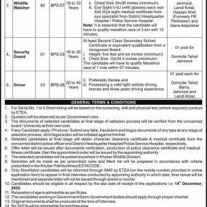 Forestry Environment & Wildlife Department Jobs 2020 ETEA Roll No Slip