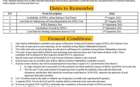University of Technology Nowshera Admission