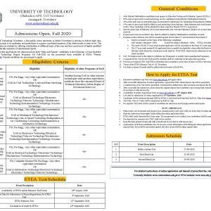 University of Technology Nowshera Admission 2020 ETEA Application Form Roll No Slip