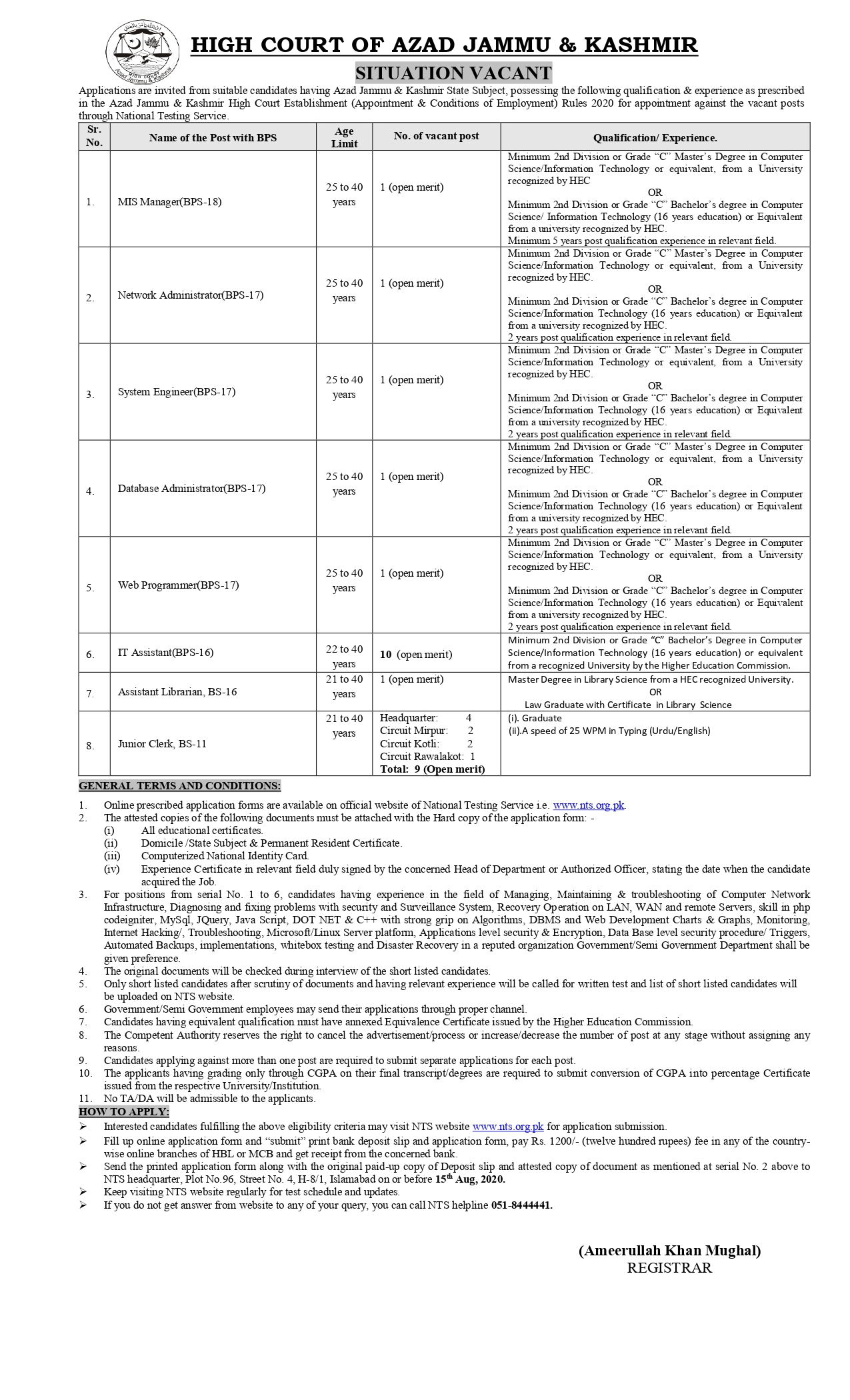 High Court Azad Jammu & Kashmir NTS Jobs 2020 Apply Online Application Form Roll No Slip