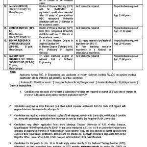 AJK University Muzaffarabad Jobs 2021