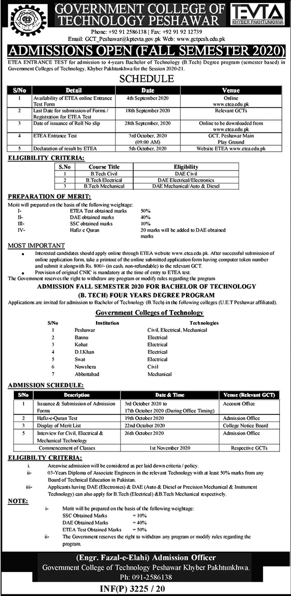 Government College of Technology Peshawar Admission 2020 ETEA Apply Online