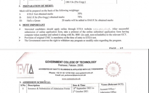 Government College of Technology GCT Peshawar Admission