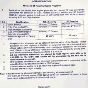 Pakistan Forest Institute Peshawar Admission 2020 NTS Apply Online
