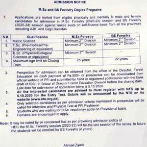 Pakistan Forest Institute Peshawar Admission 2021
