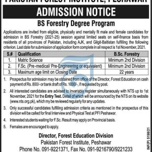 Pakistan Forest Institute Peshawar Admission 2021 NTS Apply Online