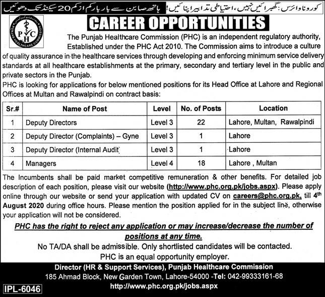 Punjab Healthcare Commission Jobs 2020 NTS Apply Online