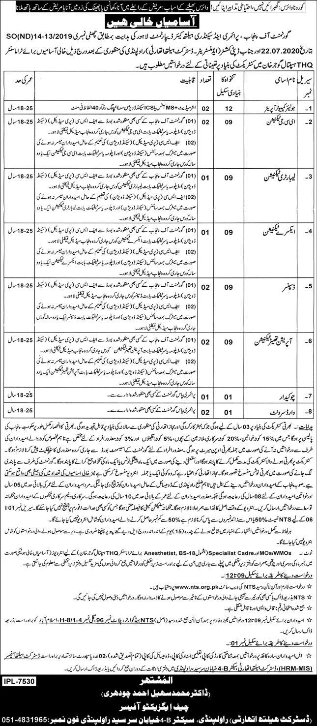 THQ Hospital Gujar Khan Jobs 2020 Application Form
