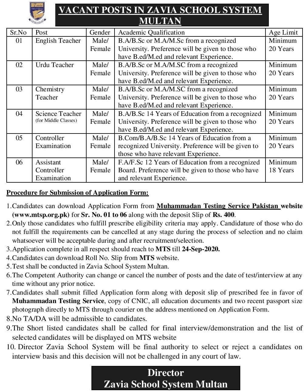 Zavia School System Multan MTS Jobs 2020