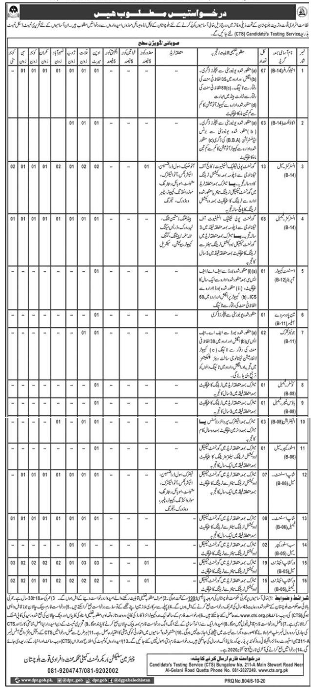 Directorate of Manpower Training Balochistan Jobs 2020 CTS Application Form Roll No Slip Test Schedule Download online