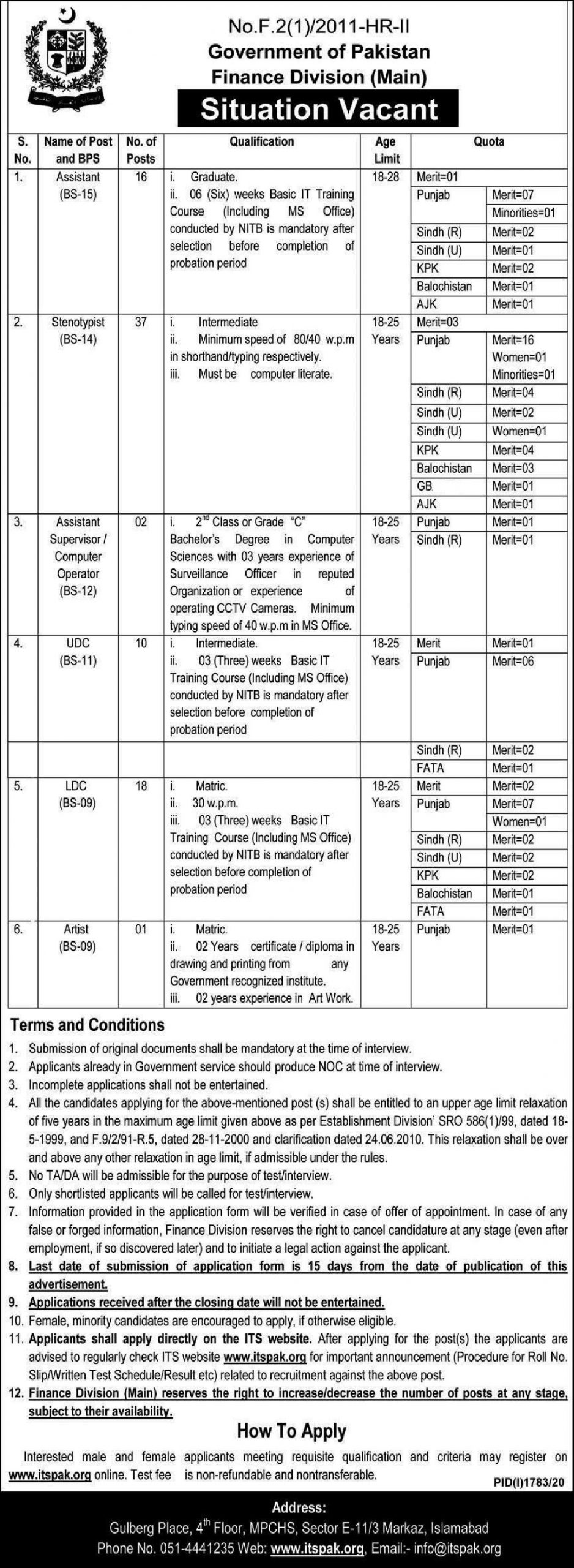 Finance Division ITS Jobs 2020 Apply Online Roll No Slip Download Online