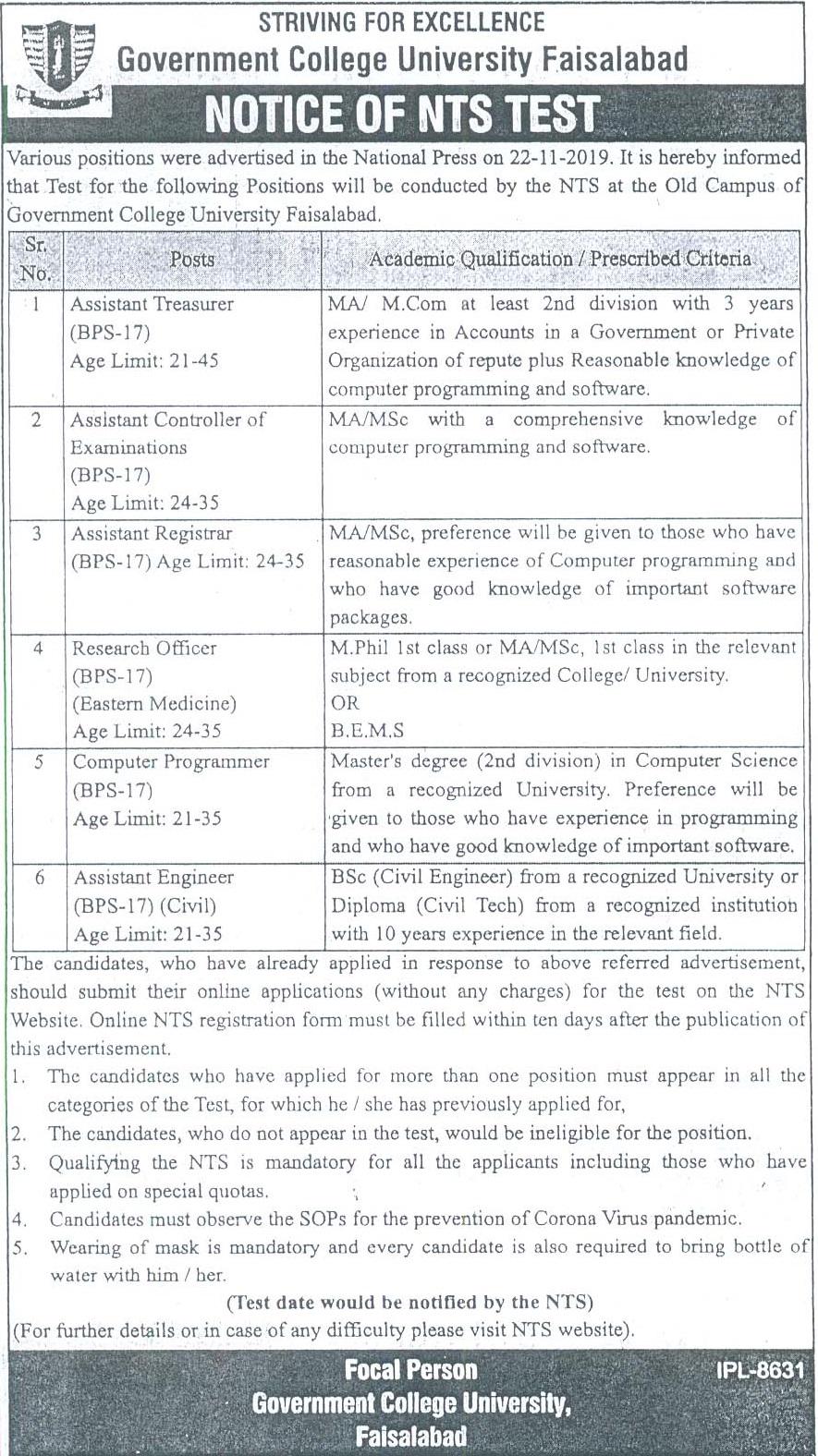 Government College GC University Faisalabad Jobs 2020 NTS Apply Online Roll No Slip Test Schedule Download Online