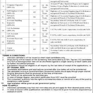 Peshawar Development Authority PDA ETEA Jobs 2020 Apply Online Roll No Slip Download Online