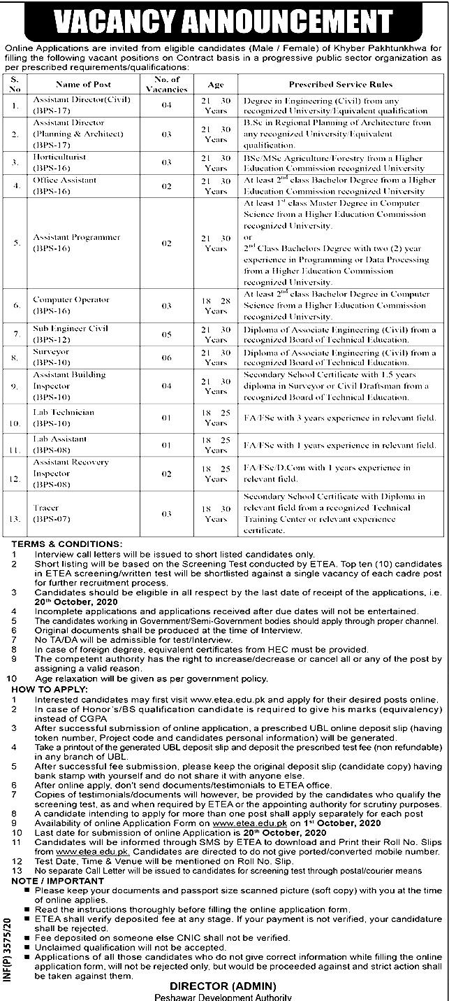 Peshawar Development Authority PDA ETEA Jobs 2020 Apply Online Roll No Slip Download Online