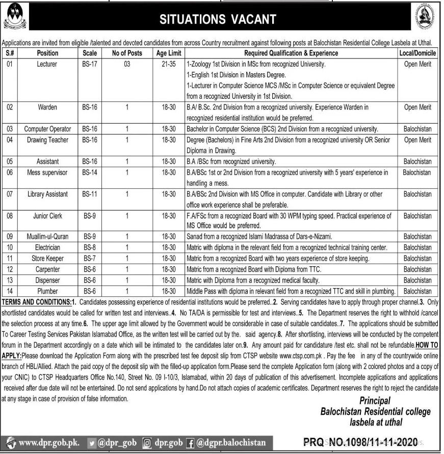 Balochistan Residential College CTSP Jobs 2020 Application Form Roll No Slip Test Schedule