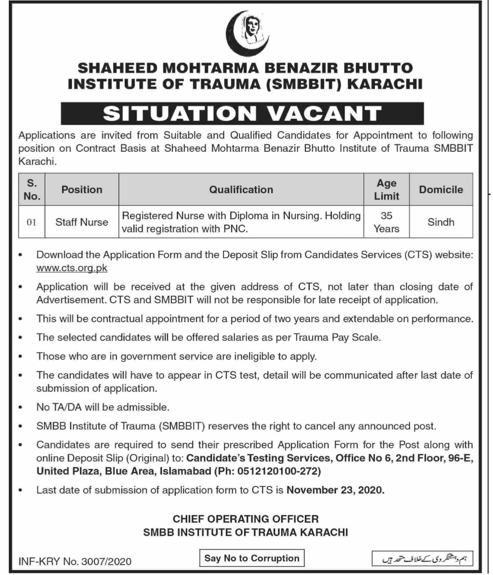 Shaheed Mohtarma Benazir Bhutto Institute of Trauma Karachi CTS Jobs Application Form Roll No Slip Test Schedule Download online