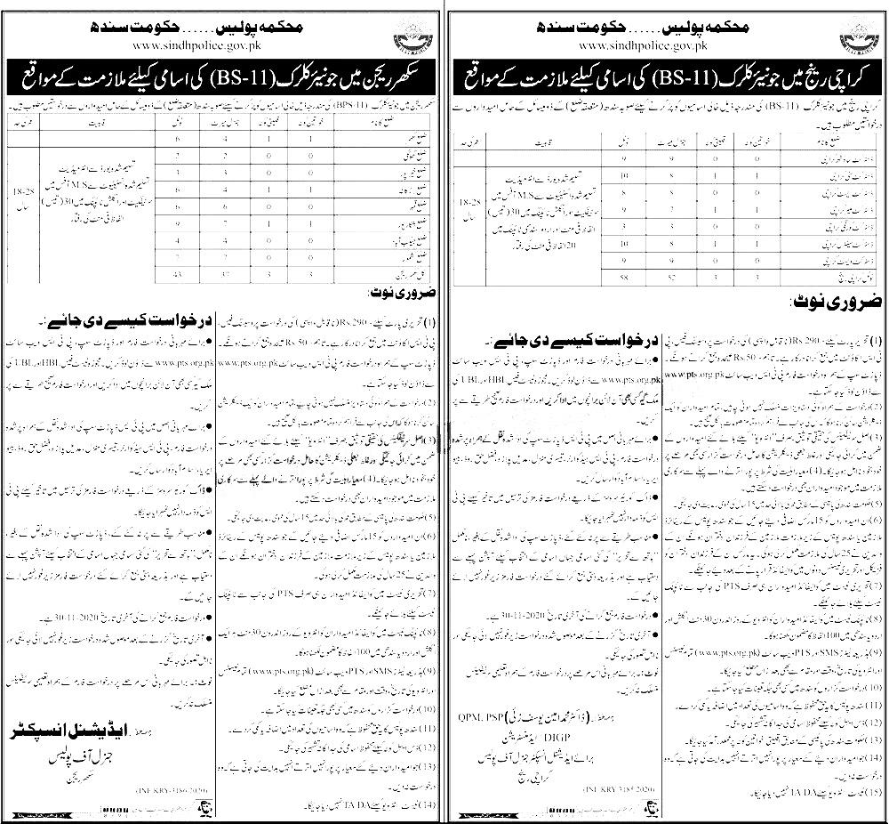 Sindh Police Sukkur Region PTS Jobs 2020 Application Form Roll No Slip