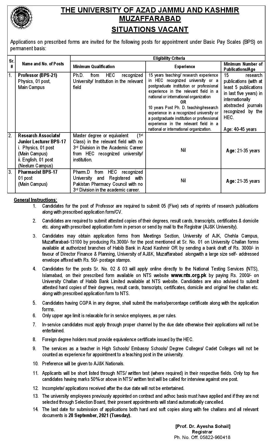 AJK University Muzaffarabad Jobs