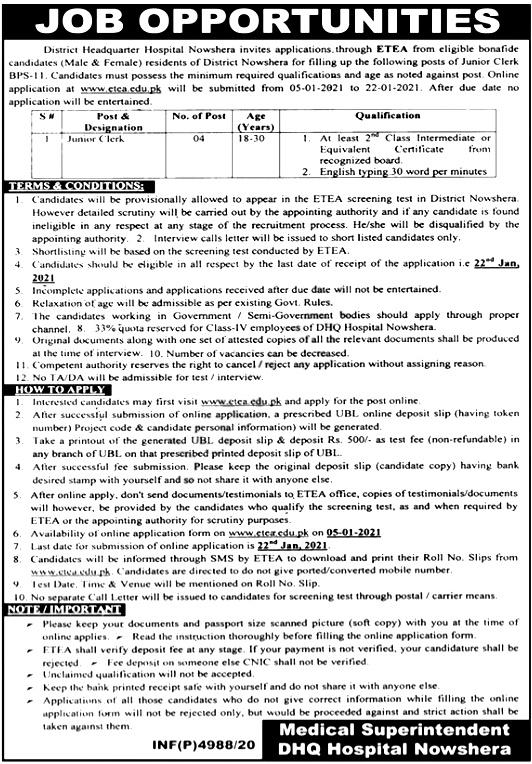 DHQ Hospital Nowshera Jobs 2021 ETEA Apply Online Roll No Slip Download Online
