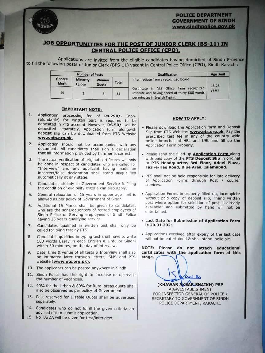 Sindh Police Junior Clerk Jobs 2021 PTS Application Form Roll No Slip Test Schedule Download Online