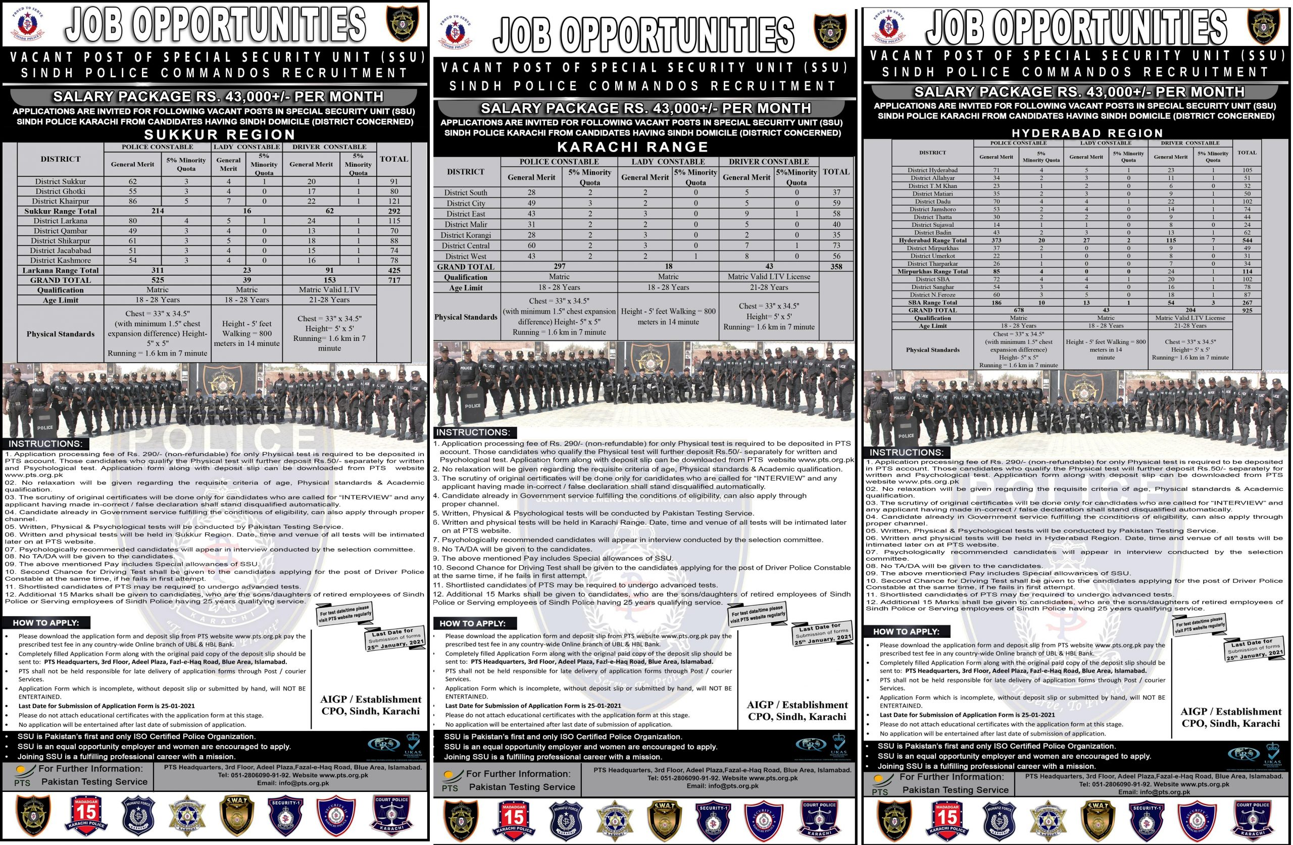 Sindh Police SSU Commandos Jobs 2021 PTS Application Form Roll No Slip Download Online