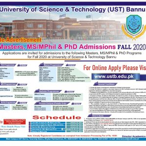 UST University of Science and Technology Bannu Admission 2021 NTS Apply Online Roll No Slip Test Schedule Download Online