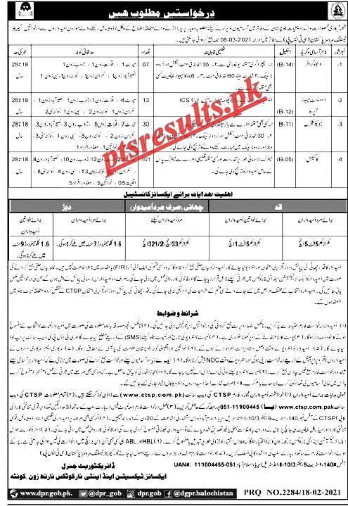 ANF Anti Narcotics Force Balochistan Jobs 2021 CTSP Application Form Roll No Slip Download Online