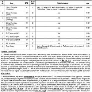District Health Office Nowshera Jobs 2021 ETEA Apply Online Roll No Slip Download