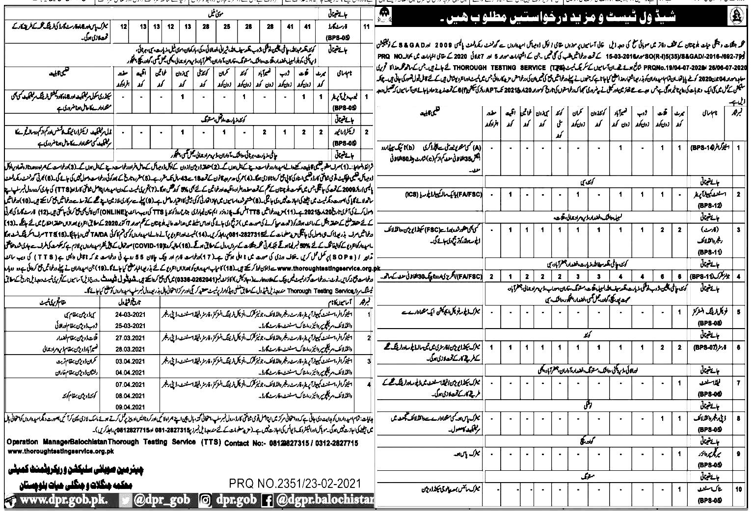 Forest Department Balochistan Jobs 2021 TTA Application Form Roll No Slip Download Online