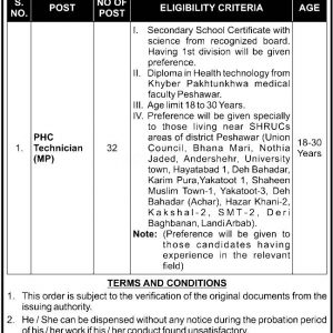 Health Department Peshawar Jobs 2021 Application Form Interview Date Check Online