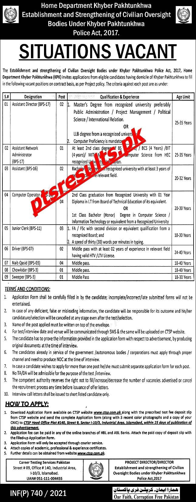 Home Department KPK Jobs 2021 CTSP Application Form Roll No Slip Download Online