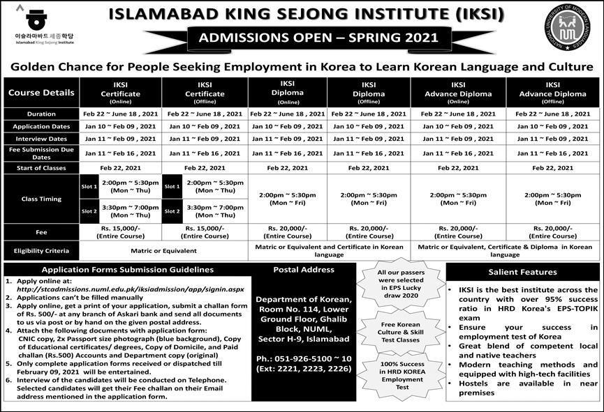 Islamabad Kink Sejong Institute IKSI Admission 2021 Apply Online