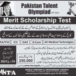 KPK Pakistan Talent Olympiad Scholarship 2021 NTPA Application Form