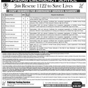 PTS Punjab Emergency Services Rescue 1122 Jobs 2021 Apply Online
