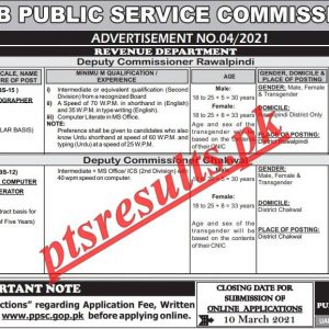 Revenue Department Punjab PPSC Jobs 2021