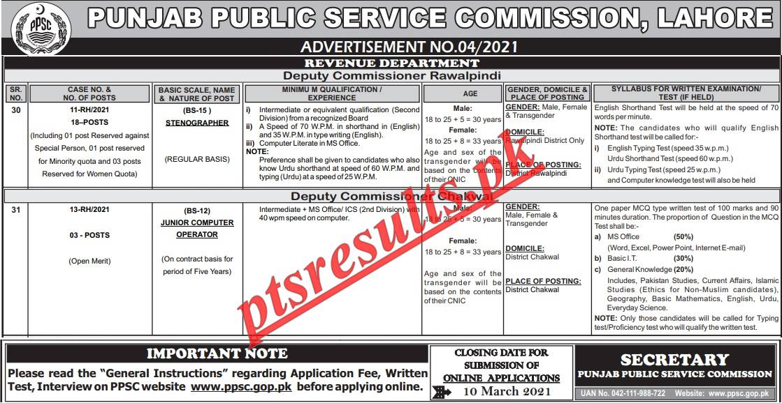 Revenue Department Punjab PPSC Jobs 2021 Apply Online Roll No Slip Download