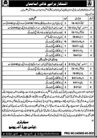 Board of Revenue Balochistan Jobs 2021 Application Form Download Online