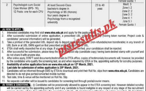 Child Protection & Welfare Commission ETEA Jobs 2021 Application Form Roll No Slip Download Online