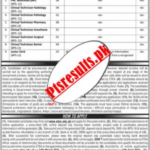 Health Department Chitral ETEA Jobs 2021 Apply Online