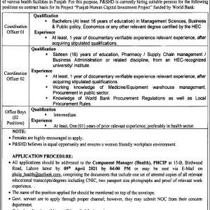 Health Department Punjab Jobs 2021 Application Form
